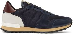 Valentino Navy Mesh Rockstud Sneakers