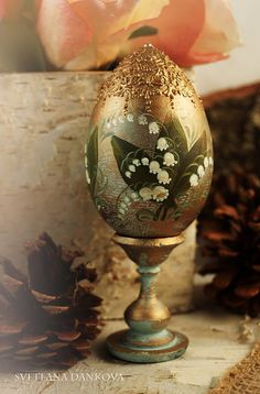 """Easter egg,  hand painted, vintage style,  Lilies of the valley, 6""""inch with stand"""