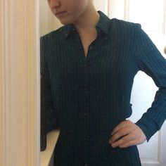 Dark Turquoise Striped Button-Up Top Only worn for work and special occasions and is in perfect condition. (CURRENTLY NOT TRADING) Forever 21 Tops Button Down Shirts