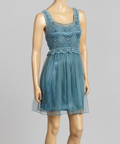 Turquoise Embroidered Silk-Blend Empire-Waist Dress | Daily deals for moms, babies and kids