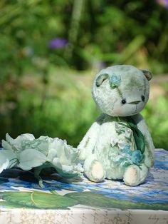 "My Flower Teddy Bear Collection  Collectible Artist Teddy bear ""Mint Love""  This…"