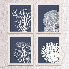 Nautical Art Prints Coral Prints White /Indigo Blue - coral art Nautical Print Coastal decor bedroom decor bathroom print Indigo Blue room