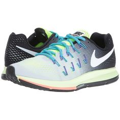 1340493d67a Nike Air Zoom Pegasus 33 (Pure Platinum/Black/Volt/White) Women's... ($110)  ❤ liked on Polyvore featuring shoes, athletic shoes, black shoes, ...