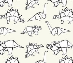 Origami Dinosaurs fabric by abbyg on Spoonflower - custom fabric could be fun for a quilt