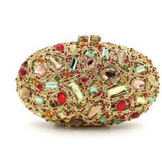 Cheap Golden Oval Rhinestone Ciolorful Box Clutch ($152) ❤ liked on Polyvore featuring bags, handbags, clutches, evening clutches, evening box clutch, evening bags clutches, golden clutches and special occasion clutches