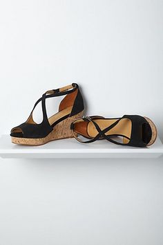 Crisscrossed Cork Wedges, Black #anthropologie