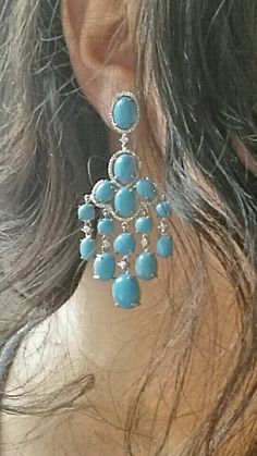 Turquoise and Diamond Chandelier Earrings - stunning! #jewelry #earrings #laavanyajewels #style #accessories #turquoise #designer #turquoise