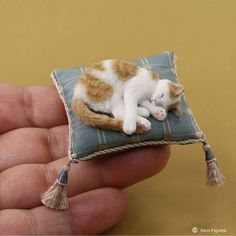 Napping dollhouse miniature creamsicle cat will be one of the original sculptures offered for sale at the Miniature Masterworks show on Sept 15 - 17, 2017 at the National Toy and Miniatures Museum. #dollhouseminiatures #polymerclay #tinystuff #pajutee