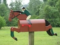 Here's one way to express your love for anything equestrian. This uniquely crafted mailbox is made of steel with  painted pine wood attachments.  www.themailboxranch.com
