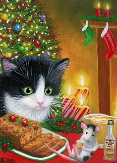 Tuxedo kitten cat mouse Christmas tree rum fruitcake original aceo painting art #Miniature