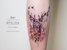 Deer Watercolor Tattoo
