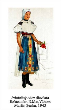 Slovakia, Bošáca Folk Costume, Costumes, Illustration Art, Illustrations, Folk Embroidery, Folklore, Traditional Outfits, Painting & Drawing, Graphic Art