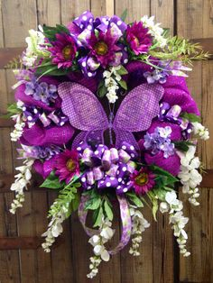 Butterfly wreath by WilliamsFloral on Etsy, $100.00
