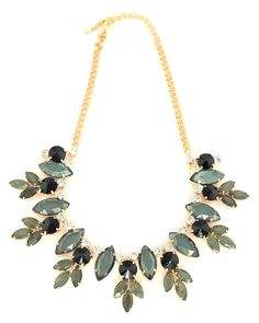 Multi Gem Floral Gunmetal Necklace