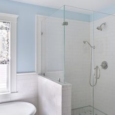 5 Surprising Tips: Wainscoting Kitchen Frames wainscoting trim entrance.How To Install Wainscoting Bathroom wainscoting bedroom baseboards. Traditional Bathroom, Shower Tub, Half Wall Shower, Bathroom Makeover, Eclectic Bathroom, Shower Stall, Wainscoting Bathroom, Bathroom Tile Shower Tub, Eclectic Bathroom Design