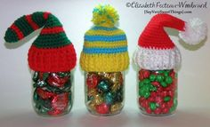Christmas Hat Toppers For Canning Jars