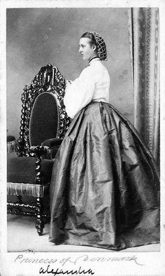 "Photo of Queen Alexandra Caroline ""Alix"" (Alexandra Caroline Marie Charlotte Louise Julia) (1844-1925) Denmark.  Wife of Albert Edward (King Edward VII) (1841-1910) Prince of Wales, UK.  2nd Child of King Christian IX (1818-1906) Denmark & Princess Louise (1817-1898) Hesse-Kassel, Germany."