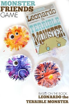 Leonardo the Terrible Monster craft and game to explore friendship with kids. Talk about the qualities that makes a good friend with kids. This book and activity is perfect for preschool and play dates! Monster Activities, Friend Activities, Preschool Activities, Activities For Kids, Monster Games For Kids, Preschool Printables, Activity Ideas, Friendship Crafts, Friendship Theme