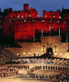 The Edinburgh Military Tattoo on the esplanade of Edinburgh Castle, Edinburgh, Scotland, UK.