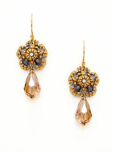 Miguel Ases Gold flower and crystal drop earrings