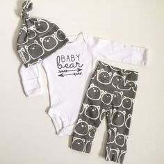 nice Baby Bear | baby boy take home outfit |organic cotton | baby set | baby outfit | cute baby gift | baby boy newborn | baby beanie | bear cub