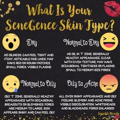 What skin type are you? SeneGence offers four different skin care regimes depending on your skin type! Each one is perfectly balanced to help your skins PH level even out. #skincare #senegence #lipsense