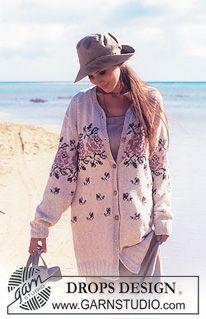 DROPS Large cardigan in Safran with rose pattern in Silke-Tweed. ~ DROPS Design