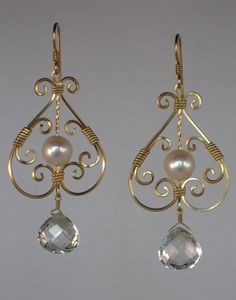 Wire Wrapped Earrings | cool wire wrapped jewelry / Gold Pearl and White Topaz Earrings