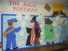 Lovely display inspired by The Jolly Postman School Displays, Classroom Displays, Display Boards, Display Ideas, Eyfs Classroom, Classroom Ideas, World Book Day Activities, People Who Help Us, Reception Class