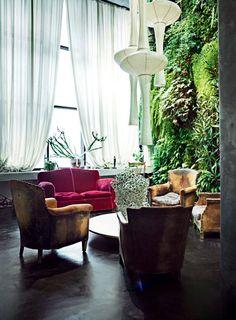 Un mur végétal dans le salon - Jean-Marc Dimanche intérieur