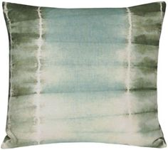 """this pillow collection is inspired by an ancient japanese dyeing technique, in which the fabric is folded and tied to create a resist-dye pattern. hand dyed in nepal on cotton linen. color: vetiver (moss, seaglass and ivory). 22"""" x 22"""". please note that the tie-dye pattern on each pillow is created by hand and thus slightly different, making each piece a true one-of-a-kind.  $158"""