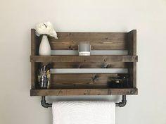 Rustic bathroom shelf with pipe towel bar Industrial bathroom