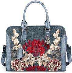 Pin for Later: Lily James Shows Us the Beauty of Investing in a Really Great Statement Bag  Alexander McQueen Padlock Small Denim Satchel Bag w/Floral Embroidery ($2,245)