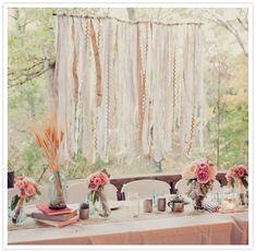 streamer adorned bridal table