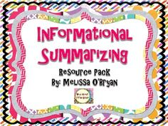 This Common Core Aligned Informational Summarizing Resource Pack is appropriate for students in grades 3-8. The Common Core says that students should be immersed in informational text. This resource will teach your students how to closely read informational text, determine important information, text structure, and author's purpose. Students will use this knowledge to successfully and fluently summarize informational text. $