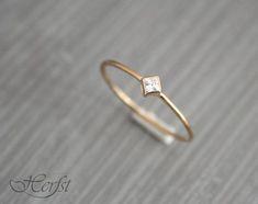 14 k gold Diamantring solide Verlobungsring von GoudsmederijHerfst