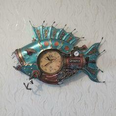 Steampunk Clock, Wood Watch, Fish, Accessories, Decor, Steampunk Watch, Wooden Clock, Decoration, Pisces