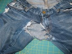 A Jeans Resurrection Tutorial - I think most people would have just thrown these away. You should see the final result. Amazing!