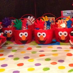 Homemade Elmo favor pails for my son's birthday.