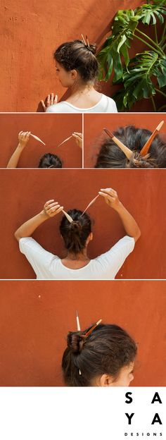 """How to do a """"Easy Up Do"""".  Centre your hair in the middle and twist the two half of your hair into two twists. Wrap them round each other on the top of your hair and hold in place. Take the hairpin to secure the bun to your head and weave it through multiple layers of hair.  The hairpin used in this tutorial is the """"Double Pandan"""" from our new collection now LIVE on Kickstarter."""