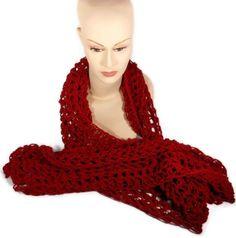 Crocheted Claret Extra Long Scarf  | craftingmemories - Crochet on ArtFire