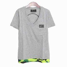 [G228]フィリップ・プレイン/PHILIPP PLEIN/HM341351 10/メンズ/Vネック/半袖/Tシャツ/グレー