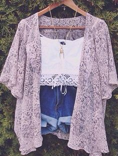 Cute music festival outfit. kimono. denim high waisted shorts. lace white crochet crop top.