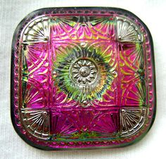 LG Square Czech Glass Button - Hot Pink Mirror Back Floral Button w/ Silver Accents