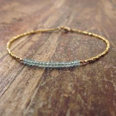 Blue Apatite Bracelet with 24K Gold Vermeil Beads by TwoFeathersNY, $78.00