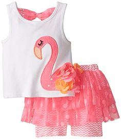 Mud Pie Baby Girls Flamingo Skirt Set Pink 12 18 Months -- You can get more details by clicking on the image.