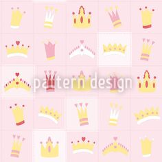 Royal Crowns Repeating Pattern by Martina Gadermeier at patterndesigns.com Vector Pattern, Pattern Design, Royal Crowns, Repeating Patterns, Fairytale, Pink, Scrappy Quilts, Fairy Tail, Fairytail