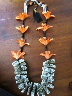 Orange Flowers Graduation Money Lei by PCbyMarilyn on Etsy Coach Appreciation Gifts, Money Lei, Leis, Crafty Projects, Orange Flowers, Graduation Gifts, Party Ideas, Gift Ideas, Party Stuff