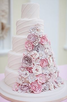 Pretty Cascading Pink & Lilac Flowers Wedding Cake