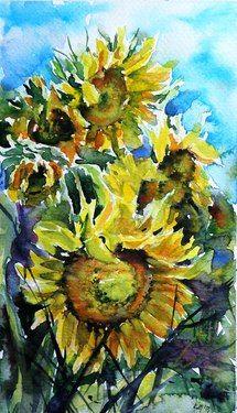 "Kovacs Anna Brigitta; Watercolor 2013 Painting ""Sunflowers"""